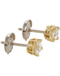 Hoorsenbuhs - White Diamond Gold Stud Earrings - Lyst