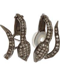 Jack Vartanian Black Light Brown Diamond Snake Earrings