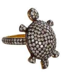 Munnu - Black Diamond Turtle Ring - Lyst