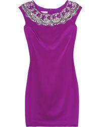 Notte by Marchesa Purple Embellished Jersey Dress