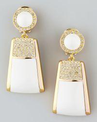 Rachel Zoe | White Pave Crystal Drop Clip Earrings | Lyst