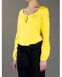 Tory Burch Yellow Keyhole Button Blouse