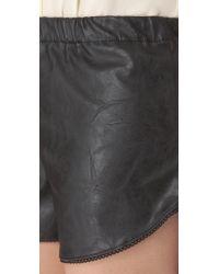 Heidi Merrick - Black Vegan Leather Mussel Shorts - Lyst