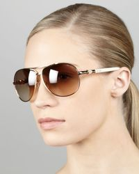 1d9dd0ce5ab Lyst - Jimmy Choo Walde Crystal-temple Aviator Sunglasses in Metallic