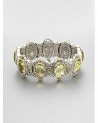 Konstantino | Green Semiprecious Multistone Sterling Silver 18k Gold Bracelet | Lyst