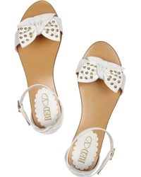 Red Valentino   White Bow-embellished Leather Sandals   Lyst