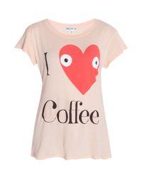 Wildfox Pink I Love Coffee Tee Shirt