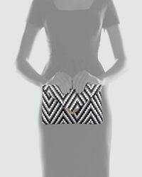 Elaine Turner - Black Bella Zigzag Raffia Envelope Clutch Bag - Lyst