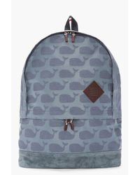 Thom Browne - Blue Grey Jacquard Woven Whale Print Backpack for Men - Lyst