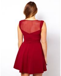 ASOS Red Skater Dress with Mesh