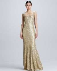 David Meister Metallic Sleeveless Gown with Lace Overlay