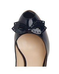 L.K.Bennett Blue Susie Patent Cork Wedge Sandals