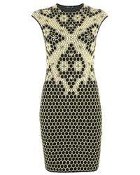 Alexander McQueen Yellow Honeycomb Bee Knit Dress