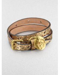 Alexander McQueen Double Wrap Metallic Snake Embossed Leather Bracelet
