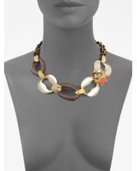 Alexis Bittar Multicolor Ivory Coast Rose Quartz Coral Clustered Gem Link Necklace