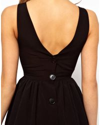 American Apparel Black Button Back Swing Dress