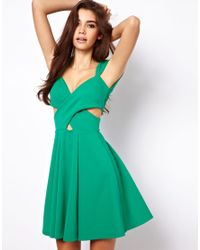 ASOS Collection Green Skater Dress with Cut Out Sides
