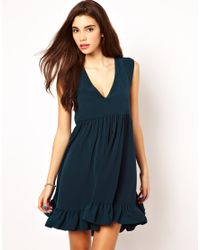 ASOS Collection Green Skater Dress with Frill Hem and V Neck