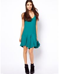ASOS Collection Green Swing Dress with Dropped Waist