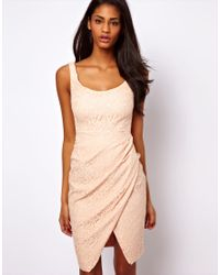 ASOS Collection Natural Sexy Lace Structured Dress with Off Shoulder