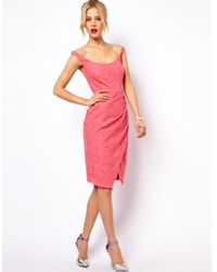 ASOS Collection | Pink Asos Sexy Lace Structured Dress with Off Shoulder | Lyst