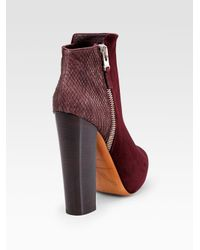 B Brian Atwood - Multicolor Paramour Suede and Snake-print Leather Ankle Boots - Lyst