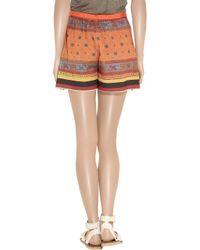 Clover Canyon Orange Printed Crepe De Chine Shorts