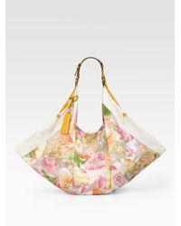 Ferragamo | Natural Farida Floral Print Foulard Hobo | Lyst