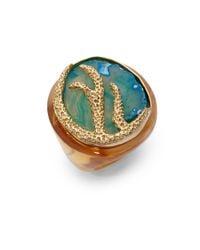 Isharya - Green Coral Reef Ring - Lyst