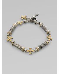Konstantino | Metallic 18k Gold Sterling Silver Diamond Cross Bracelet | Lyst