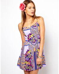 MINKPINK Purple Distant Traveller Dress in Scarf Print