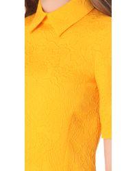 Moschino Metallic Flower Jacquard Dress with 34 Sleeves