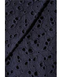 Nicole Farhi Blue Broderie Anglaise Cotton Top