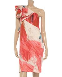 Nicole Farhi Red Printed Silk and Cottonblend Dress