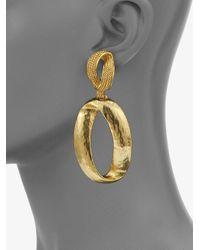 Oscar de la Renta - Metallic Oval Drop Earrings - Lyst