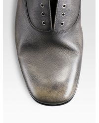 Prada | Gray Laceless Oxfords for Men | Lyst