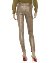 Rag & Bone Brown Metallic Leather Skinny Pants