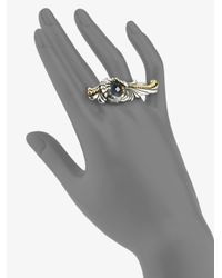 Stephen Webster - Multicolor Grey Cats Eye & Sterling Silver Fishtail Double Ring - Lyst