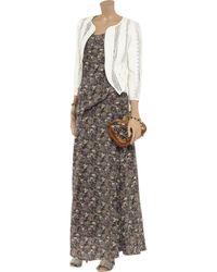 Vanessa Bruno Brown Double Layered Printed Silk Maxi Dress