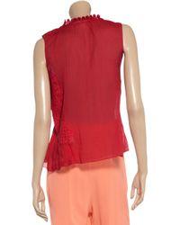Vanessa Bruno Red Lace Appliquéd Cotton Top