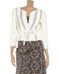 Vanessa Bruno White Lace Paneled Leather Jacket
