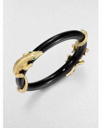 ABS By Allen Schwartz - Metallic Golden Island Alligator Bangle Bracelet - Lyst