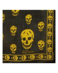 Alexander McQueen Black Gold Silk Chiffon Skull Scarf