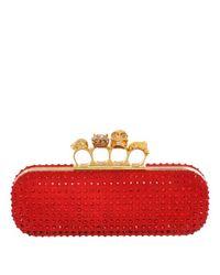 Alexander McQueen Red Crystal Silk Knuckle Box Clutch