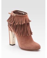 B Brian Atwood | Natural Pembra Suede Fringe Ankle Boots | Lyst