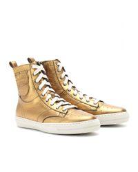 Burberry Northfield Metallic Leather Sneakers