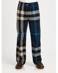 Burberry - Blue Checked Cotton Lounge Trousers for Men - Lyst