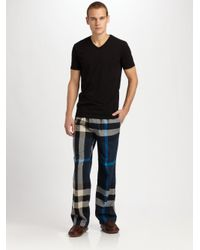 Burberry | Blue Checked Cotton Lounge Trousers for Men | Lyst