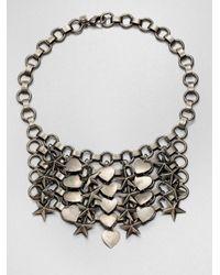 DANNIJO Metallic Marinella Stars Hearts Chainmail Bib Necklace