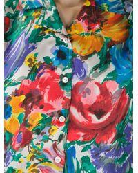 Dolce & Gabbana Blue Floral Print Blouse